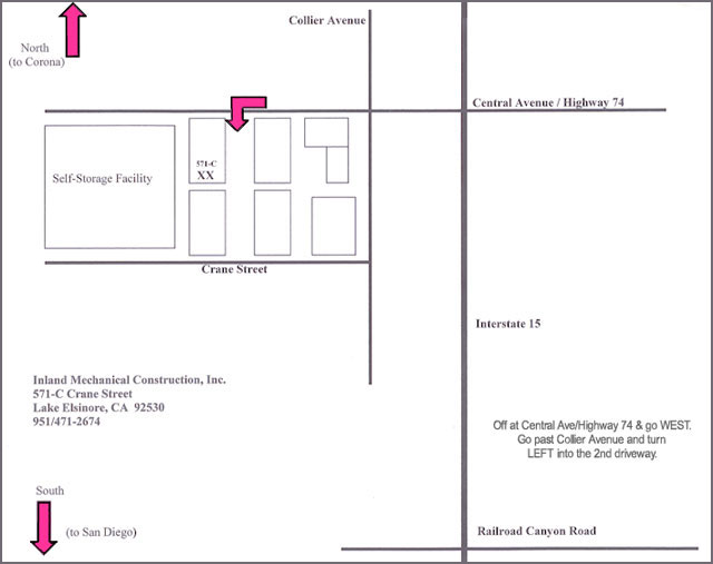 Map to Inland Mechanical Construction Inc